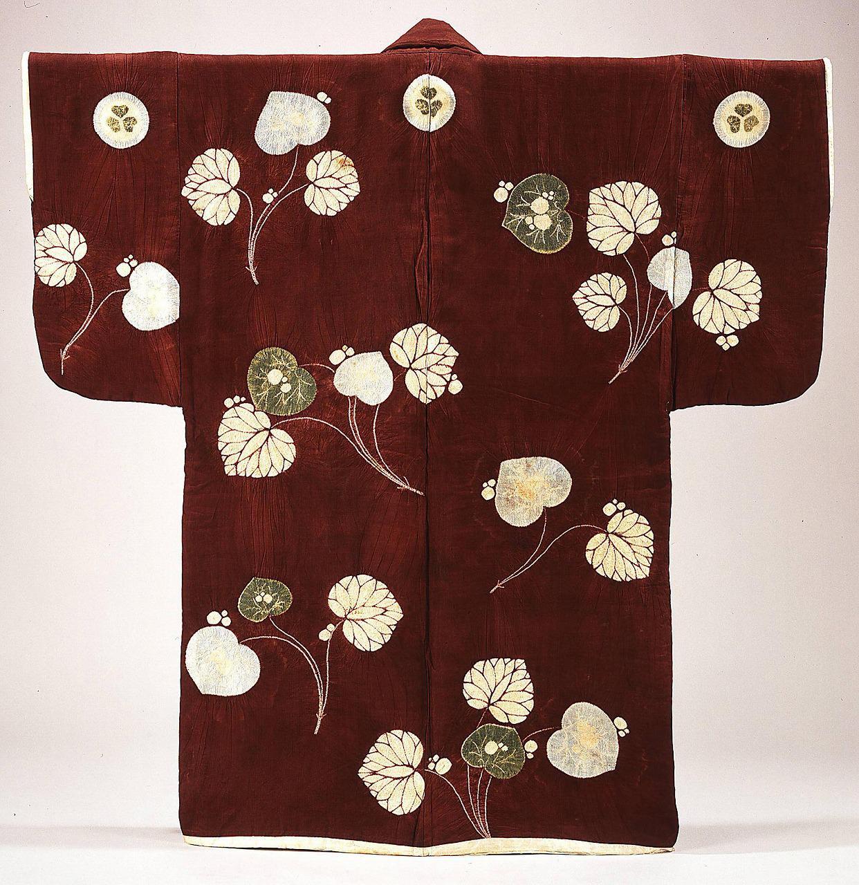 紫地葵紋付葵の葉文<br>辻ヶ花染羽織