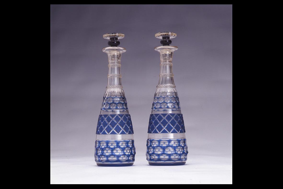 薩摩切子 藍色栓付酒瓶 一対