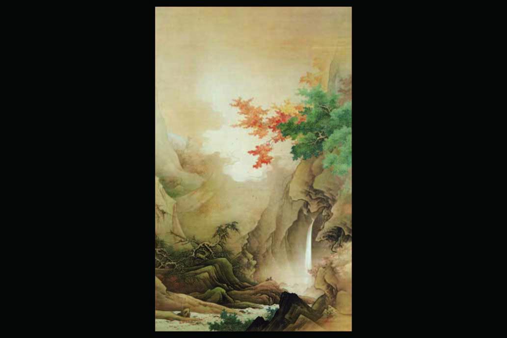 白雲紅樹図